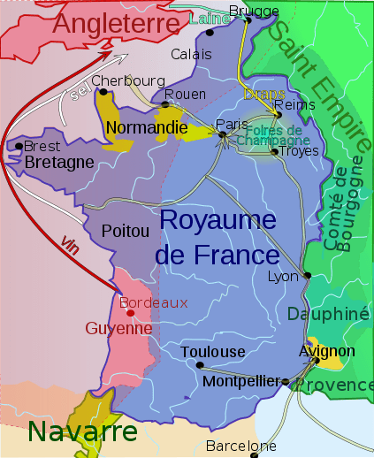 How Bordeaux's wine exports reached England [via Wikimedia Commons]