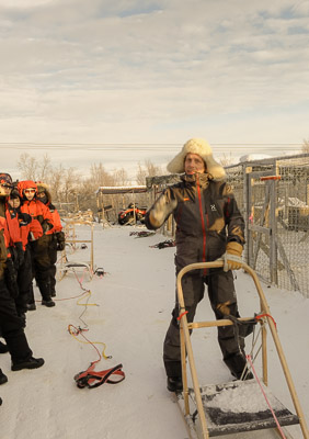 Ready for dog-sledding - receiving life-saving instructions