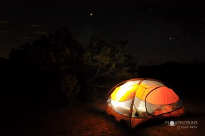 Our tent at night, at the Willow Flat Campground, Island in the Sky